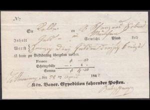 Bayern Königliche Bayrische Expedition-Schein fahrender Posten (3705