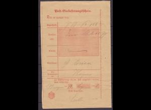 Posteinlieferungsschein Wangern nach Hagen 1891 (3708