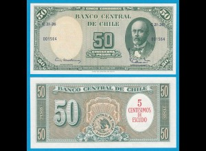 CHILE - 5 Centesimos auf 50 Pesos Banknote Pick 126 UNC (18400
