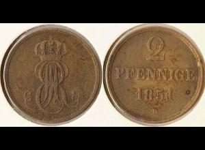 Hannover 2 Pfennig 1851 Altdeutschland Old German States (n468