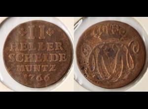 Nassau-Dietz-Oranien 2 Heller 1766 Altdeutschland Old German States (n502
