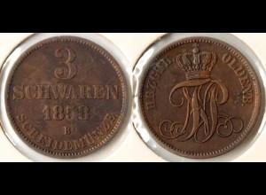 Oldenburg 3 Schwaren 1858 Altdeutschland Old German States (n503