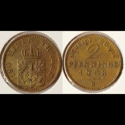 Preussen Prussia 2 Pfennig 1868 B Altdeutschland Old German States (n542
