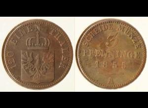 Preussen Prussia 3 Pfennig 1855 A Altdeutschland Old German States (n544