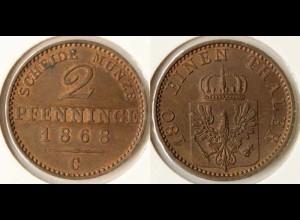 Preussen Prussia 2 Pfennig 1868 C Altdeutschland Old German States (n561