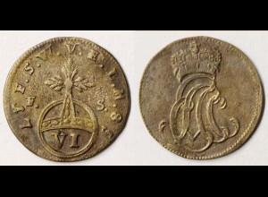 Sachsen-Weimar-Eisenach 6 Pfennig 1758 Altdeutschland OLD German States (n598