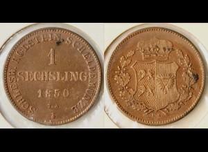 Schleswig Holstein 1 Sechsling 1850 Altdeutschland Old German States (n615