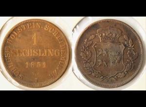 Schleswig Holstein 1 Sechsling 1851 Altdeutschland Old German States (n617