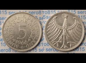 5 DM Silber-Adler Silberadler Münze 1966 G Jäger 387 BRD (p051