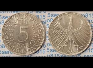 5 DM Silber-Adler Silberadler Münze 1974 D Jäger 387 BRD (p073