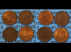 1 Pfennig complete set year 1950 all Mintmarks (422