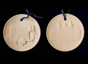 Meissen Porzellan/Steinzeug Medaille Hamm Glas-Elefant 1984 Landes-Gartenschau