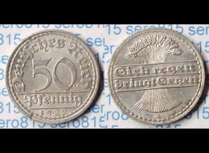 50 Pfennig 1922 A Deutsches Reich Weimar Jäger Nr. 301 (p710