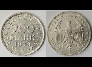 200 Mark Deutsches Reich Jäger Nr. 304 1923 G
