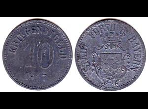 10 Pfg.Notgeld Münze Kriegsgeld Fuerth Bayern 1917 (4163