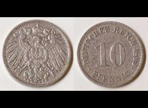 10 Pfg. Kaiserreich EMPIRE 1899 G Jäger 13 (696