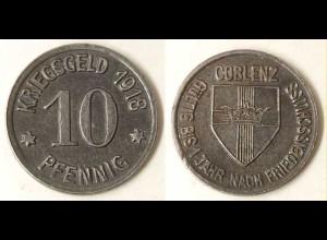Notgeld/Kriegsgeld Münze Stadt Coblenz 10 Pfennig 1918 Eisen (849