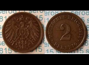 2 Pfennig Kaiserreich Empire 1911 D Jaeger 11 (m305