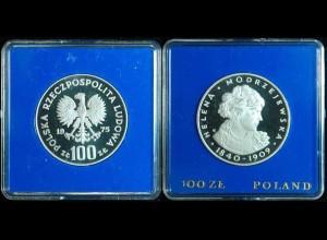 Polen Poland 100 ZLOTYCH 1975 Helena Modrzejewska PP SILBER (2357