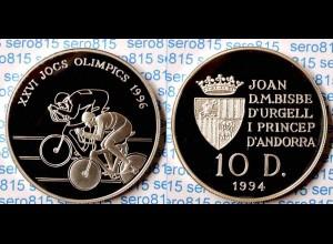 Andorra 10 Diners Silber 1994 PP Olympische Spiele Atlanta 1996 RADRENNEN (n169