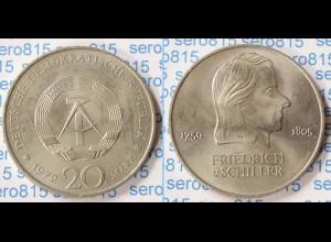 DDR 20 Mark von 1972 Friedrich Schiller bankfrisch (n200