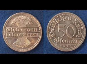 50 Pfennig Weimarer Republik 1921 G Jäger 301 (n381