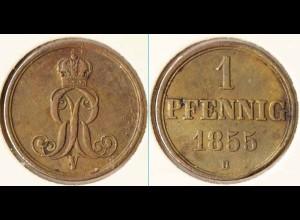 Hannover 1 Pfennig 1855 Altdeutschland Old German States (n465