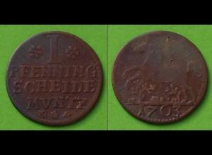 Braunschweig-Wolfenbüttel 1 Pfennig 1703 Altdeutschland Old German States (n449