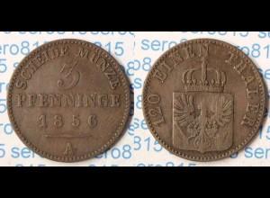Preussen Prussia 3 Pfennig 1856 A Altdeutschland Old German States (p295