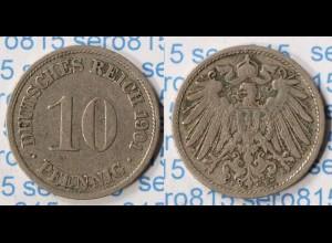 10 Pfennig Kaiserreich EMPIRE 1901 F Jäger 13 (p092
