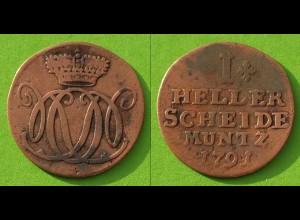 Nassau-Dietz-Oranien 1 Heller 1791 Altdeutschland Old German States (n501
