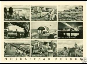 AK Nordseebad Borkum Kupfertiefdruck 9er Ansicht (2265
