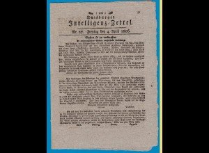 Duisburger Intelligenz Zettel Ausgabe vom 4.4.1806 XX selten (18510