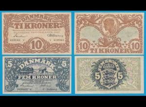 DÄNEMARK - DENMARK 5 + 10 Kronen 1943 Pick 30k + 31p VF (18504