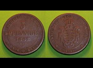 Sachsen Königreich Altdeutschland 5 Pfennige 1862 (279