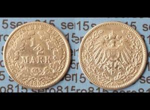 1/2 Mark Kaiserreich EMPIRE 1905 J Silber Jäger 16 (872