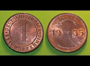 1 Reichspfennig 1935 D - D. Reich Jäger Nr. 313 schöne Erhaltung (b402