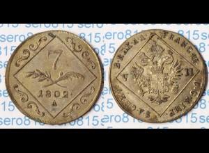 Österreich Austria Haus Habsburg 7 Kreuzer 1802 A Silber Franz II. (p327