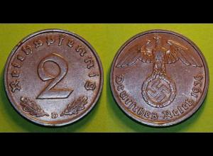 2 Pfennig 3. Reich Third Reich 1936 D Jäger 362 (18555