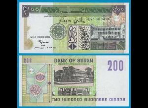 Sudan - 200 Dinars Banknote 1998 Pick 57 UNC (18608