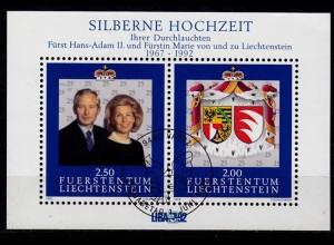 Liechtenstein 25. Hochzeitstag Block 14 ESST (c123