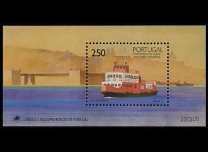 Portugal 1989 Schiff Fähre Fährschiff BLOCK 65 ** postfrisch MNH (d348