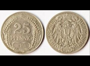 25 Pfennig Kaiserreich EMPIRE 1909 F Jäger 18 (r621
