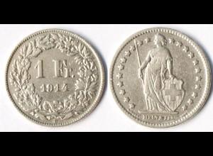 Schweiz - Switzerland 1 Franken Silber-Münze 1914 (r1315