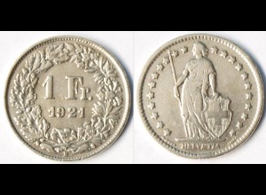 Schweiz - Switzerland 1 Franken Silber-Münze 1921 (r1314