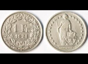 Schweiz - Switzerland 1 Franken Silber-Münze 1921 (r1312