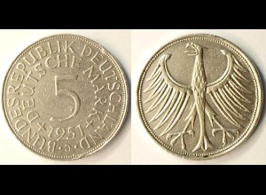 5 DM Silber-Adler Silberadler Münze 1951 J Jäger 387 BRD (r1269