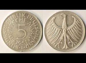 5 DM Silber-Adler Silberadler Münze 1951 D Jäger 387 BRD (r1268