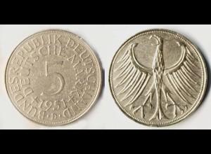 5 DM Silber-Adler Silberadler Münze 1951 D Jäger 387 BRD (r1267