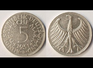 5 DM Silber-Adler Silberadler Münze 1951 D Jäger 387 BRD (r1266